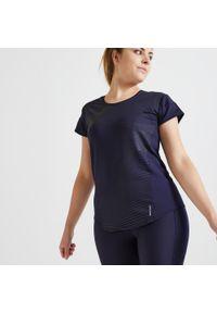 DOMYOS - Koszulka fitness Domyos FTS 120. Kolor: niebieski. Materiał: poliester, elastan, materiał. Długość rękawa: krótki rękaw. Długość: krótkie. Sport: fitness