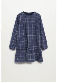 Niebieska sukienka Mango Kids casualowa, prosta, z długim rękawem, mini