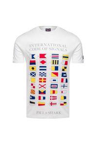 Biały t-shirt Paul and Shark z okrągłym kołnierzem, z nadrukiem