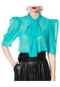 AGGI - Turkusowa bluzka Angel. Okazja: na spotkanie biznesowe, do pracy. Kolor: niebieski. Materiał: jedwab, tkanina, wiskoza. Styl: elegancki, wizytowy, biznesowy