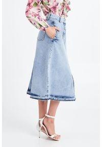 Liu Jo - SPÓDNICA JEANSOWA LIU JO. Materiał: jeans. Styl: klasyczny