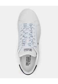 Ralph Lauren - RALPH LAUREN - Białe sneakersy Heritage Court. Nosek buta: okrągły. Kolor: biały. Materiał: guma. Wzór: napisy