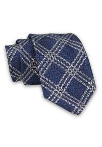 Alties - Granatowo-Biały Elegancki Męski Krawat -ALTIES- 7cm, Stylowy, Klasyczny, w Grubą Kratkę. Kolor: niebieski. Materiał: tkanina. Wzór: kratka. Styl: klasyczny, elegancki