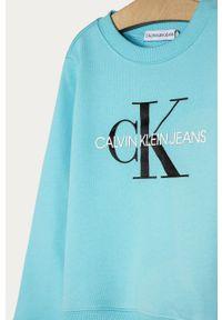 Niebieska bluza Calvin Klein Jeans na co dzień, z aplikacjami, casualowa, bez kaptura