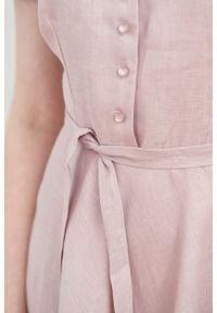 Marie Zélie - Sukienka Rosa lniana lilakowa. Typ kołnierza: kokarda. Materiał: len. Długość rękawa: krótki rękaw. Długość: midi