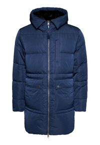 Niebieska kurtka puchowa Tommy Jeans na co dzień, casualowa