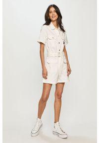 Biały kombinezon Tommy Jeans na co dzień, krótki, z krótkim rękawem