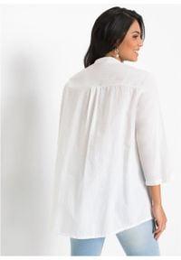 Długa bluzka z ażurowym haftem bonprix Długa bluzka z aż.haft b.wełn. Kolor: biały. Materiał: wełna. Długość: długie. Wzór: haft, ażurowy