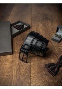 ROVICKY - Pasek męski Rovicky PSN-01-SO 110cm czarny. Kolor: czarny. Materiał: skóra. Styl: klasyczny, elegancki