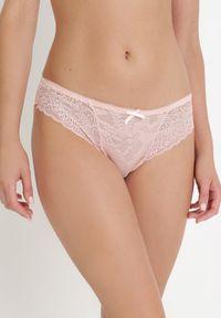 Born2be - Różowe Majtki Farnan. Kolor: różowy. Materiał: bawełna, koronka, materiał. Wzór: kwiaty, koronka