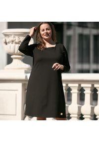 Czarna sukienka dla puszystych Moda Size Plus Iwanek z klasycznym kołnierzykiem, z długim rękawem, na co dzień, klasyczna