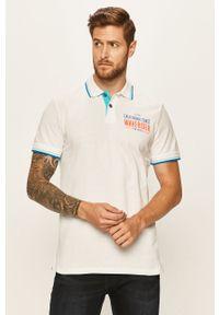 Biała koszulka polo Tom Tailor Denim krótka, z aplikacjami