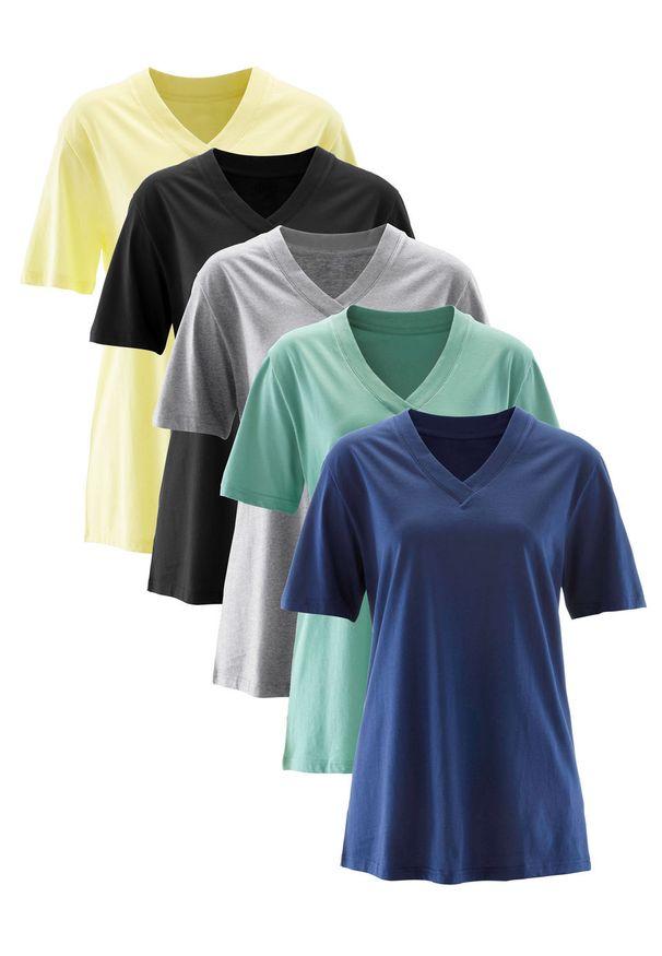 Długi shirt z dekoltem w szpic (5 sztuk), krótki rękaw bonprix jasna limonka + zielony szałwiowy + kobaltowy + jasnoszary melanż + czarny. Kolor: żółty. Długość rękawa: krótki rękaw. Długość: krótkie. Wzór: melanż