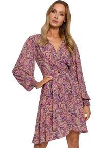 Sukienka koktajlowa MOE z długim rękawem, mini, na lato, paisley