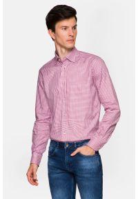 Lancerto - Koszula Czerwona w Kratę Pena. Okazja: do pracy, na co dzień, na spotkanie biznesowe. Kolor: czerwony. Materiał: bawełna, tkanina. Wzór: kratka. Styl: klasyczny, casual, biznesowy