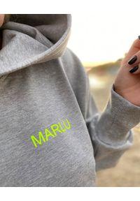 MARLU - Szara bluza z kapturem. Typ kołnierza: kaptur. Kolor: szary. Materiał: dresówka, bawełna