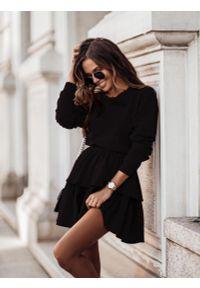 Czarna bluzka z długim rękawem IVON krótka