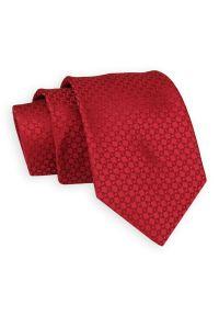 Czerwony Klasyczny Elegancki Krawat -Angelo di Monti- 7 cm, Męski, w Tłoczony Wzór Geometryczny. Kolor: czerwony. Wzór: geometria. Styl: klasyczny, elegancki