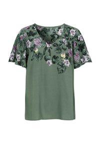 Cellbes Bluzka w kwiaty khaki we wzory female zielony/ze wzorem 42/44. Kolor: zielony. Długość: krótkie. Wzór: kwiaty