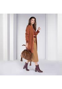 Brązowa torebka worek Wittchen z motywem zwierzęcym, z frędzlami #5