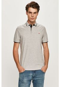 Szara koszulka polo PRODUKT by Jack & Jones polo, melanż