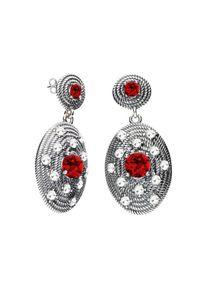 Polcarat Design - Srebrne oksydowane kolczyki z kryształami Swarovski K2 1996. Materiał: srebrne. Kolor: srebrny. Wzór: aplikacja. Kamień szlachetny: kryształ
