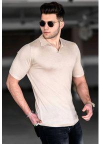 Beżowy t-shirt IVET casualowy, polo, na co dzień