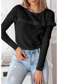 Czarna bluzka IVET w kolorowe wzory, casualowa