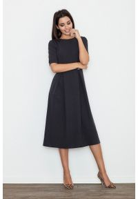 e-margeritka - Elegancka rozkloszowana sukienka midi z rękawem 3/4 - m. Okazja: do pracy, na spotkanie biznesowe. Materiał: bawełna, wiskoza, materiał, skóra, poliester. Wzór: jednolity, gładki. Sezon: lato, wiosna. Typ sukienki: rozkloszowane. Styl: elegancki. Długość: midi