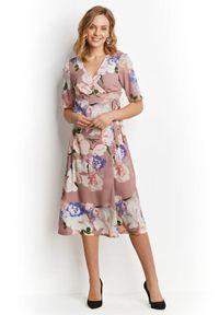 Fioletowa sukienka Happy Holly w kwiaty, kopertowa