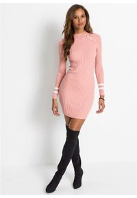 Sukienka dzianinowa z ozdobnymi guzikami bonprix jasnoróżowy. Kolor: różowy. Materiał: dzianina