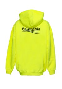 Balenciaga - BALENCIAGA - Neonowo-żółta bluza z kontrastowym logo. Kolor: żółty. Materiał: prążkowany, bawełna