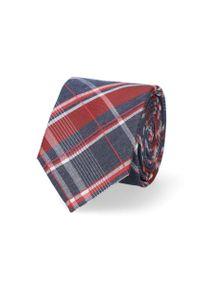 Lancerto - Krawat Granatowo-Czerwony w Kratę. Kolor: niebieski, czerwony, wielokolorowy. Materiał: mikrofibra, materiał. Styl: elegancki