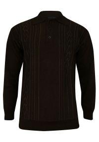Brązowy sweter Elkjaer klasyczny, z klasycznym kołnierzykiem, na zimę
