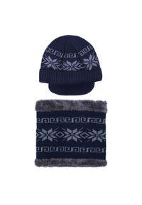 Niebieska czapka Giacomo Conti na zimę, w kolorowe wzory
