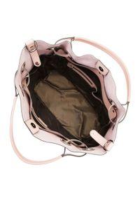Różowa torebka worek Wittchen z haftem, na ramię, z haftami, biznesowa