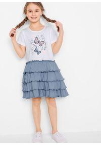 Sukienka shirtowa z falbanami bonprix biało-niebieski matowy. Kolor: biały