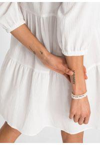 Sukienka plażowa z koronką bonprix biały. Okazja: na plażę. Kolor: biały. Materiał: koronka. Wzór: koronka. Sezon: lato