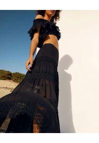 CHARO RUIZ IBIZA - Długa spódnica z koronką Ruth. Stan: podwyższony. Kolor: czarny. Materiał: koronka. Długość: długie. Wzór: koronka