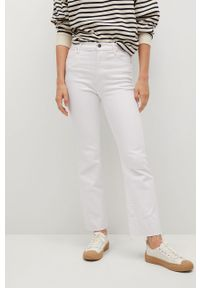 Białe jeansy bootcut mango gładkie