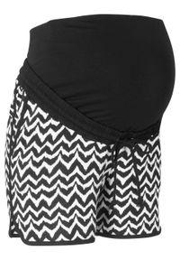 Szorty ciążowe bonprix czarno-biały w graficzny deseń. Kolekcja: moda ciążowa. Kolor: czarny