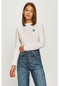Biała bluzka z długim rękawem Guess Jeans z aplikacjami, casualowa, na co dzień