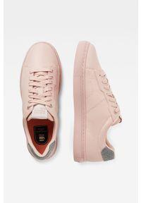Różowe buty sportowe G-Star RAW na średnim obcasie, z cholewką, na sznurówki, z okrągłym noskiem