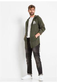 Zielona bluza bonprix długa, z nadrukiem, z kapturem