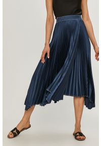 Beatrice B - Spódnica. Kolor: niebieski. Materiał: tkanina. Wzór: gładki