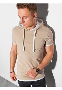 Ombre Clothing - T-shirt męski z kapturem bez nadruku S1376 - beżowy - XXL. Okazja: na co dzień. Typ kołnierza: kaptur. Kolor: beżowy. Materiał: bawełna, jersey, dzianina. Styl: klasyczny, casual