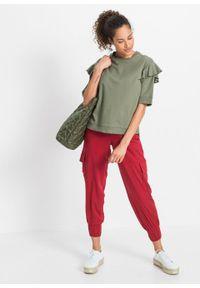 Bluza, krótki rękaw bonprix oliwkowy. Kolor: zielony. Długość rękawa: krótki rękaw. Długość: krótkie