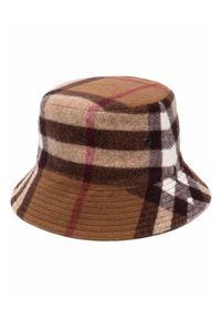 Burberry - BURBERRY - Wełniany kapelusz w kratkę. Kolor: brązowy. Materiał: wełna. Wzór: kratka. Styl: vintage