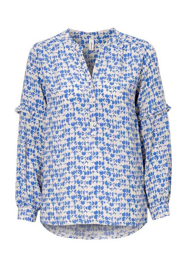 Soyaconcept Bluzka Rovena niebieski we wzory female niebieski/ze wzorem L (42). Typ kołnierza: kołnierz z falbankami. Kolor: niebieski. Materiał: tkanina. Długość rękawa: długi rękaw. Długość: krótkie
