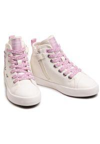 Geox - Trampki GEOX - J Ciak G. F J0204F 00010 C0680 S Off White/Pink. Kolor: biały. Materiał: materiał. Szerokość cholewki: normalna. Wzór: aplikacja